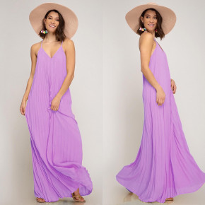 Γυναικείο μακρύ φόρεμα 5207 λιλά