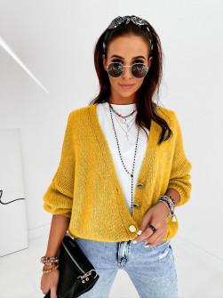 Γυναικεία κοντή ζακέτα με κουμπιά 2005 κίτρινη