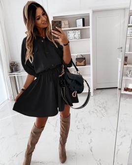 Γυναικείο φόρεμα με λάστιχο στη μέση 5324 μαύρο