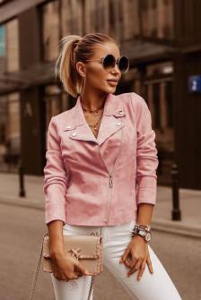 Γυναικείο κοντό σουέτ μπουφάν 5282 ροζ