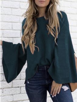 Γυναικείο πουλόβερ με φαρδύ μανίκι 2532 πετρόλ