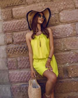 Γυναικείο κοντό φόρεμα 88199 κίτρινο