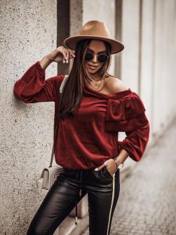 Γυναικεία μπλούζα βελουτέ 3294 μπορντό