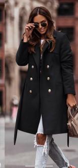 Γυναικείο διπλοκούμπωτο παλτό με φόδρα 6052 μαύρο