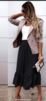 Γυναικεία φούστα με λάστιχο στη μέση 5625 μαύρο