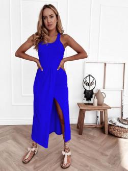 Γυναικείο φόρεμα με σκίσιμο 8215 μπλε