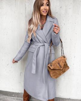 Γυναικείο μακρύ παλτό με ζώνη και φόδρα 6056 γκρι