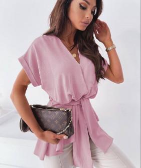 Γυναικεία μπλούζα με ζώνη 5605 ροζ