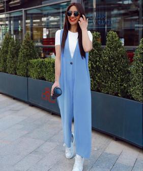 Γυναικεία ολόσωμη φόρμα με κοντομάνικο 5686 γαλάζιο
