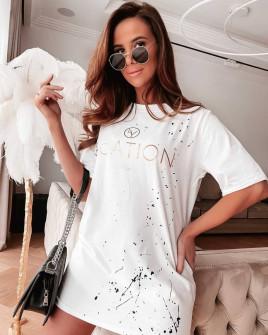 Γυναικείο χαλαρό μπλουζοφόρεμα 4575 άσπρο