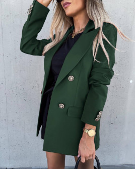 Γυναικείο μακρύ σακάκι με φόδρα 6075 σκούρο πράσινο