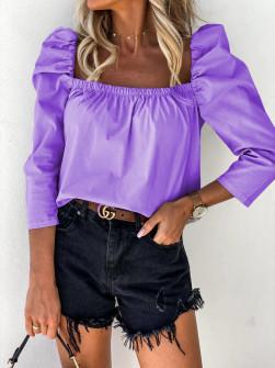 Γυναικεία μπλούζα με φουσκωτό μανίκι 8568 μωβ