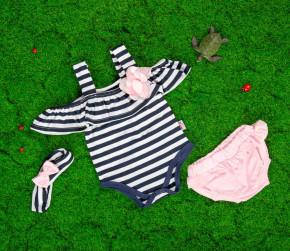 Βρεφικό σετ 3τμχ. κορμάκι, κορδέλα και βρακάκι 5055384 σκούρο μπλε/ροζ