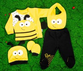 Βρεφικό σετ 5τμχ.παντελονι με κλειστό πόδι, μπλούζα, σκουφάκι, γάντια και σαλιάρα 50515524 μέλισσα