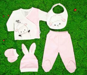 Βρεφικό σετ 5τμχ. παντελόνι με κλειστό πόδι, μπλούζα, σκουφάκι, γάντια και σαλιάρα 50515086 ροζ