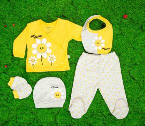 Βρεφικό σετ 5τμχ. παντελόνι με κλειστό πόδι, μπλούζα, σκουφάκι, γάντια και σαλιάρα 50515469