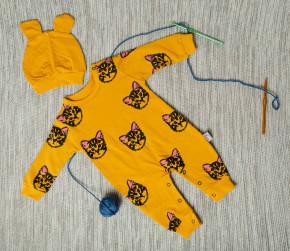 Βρεφική ολόσωμη φόρμα με σκουφάκι γατάκια 5054763 κίτρινη