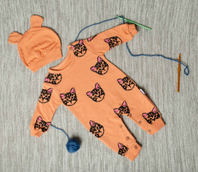 Βρεφική ολόσωμη φόρμα με σκουφάκι γατάκια 5054763 πορτοκαλί