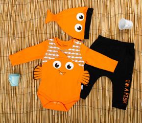 Βρεφικό σετ 3τμχ. σκουφάκι, κορμάκι και παντελονάκι ψάρι 50515501 πορτοκαλί