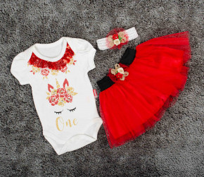 Βρεφικό σετ 3τμχ κορδέλα, κορμάκι και φούστα 5054020 κόκκινο