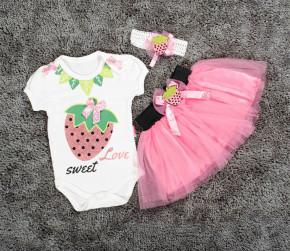 Βρεφικό σετ 3τμχ. κορδέλα, κορμάκι και φούστα φράουλα 5054025 ροζ