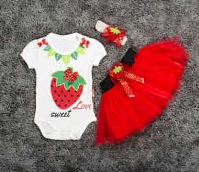 Βρεφικό σετ 3τμχ. κορδέλα, κορμάκι και φούστα φράουλα 5054025 κόκκινο