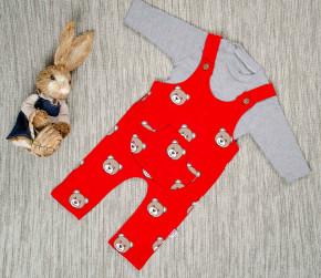 Βρεφικό σετ 2τμχ. μπλούζα και ολόσωμη φόρμα αρκουδάκι 5054709 κόκκινο