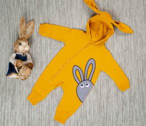 Βρεφική ολόσωμη φόρμα με κουκούλα 5052733 κίτρινο