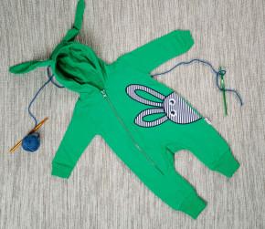 Βρεφική ολόσωμη φόρμα με κουκούλα 5052733 πράσινο