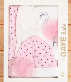 Бебешки комплект за изписване 5 части фламинго 505773 бял/розов