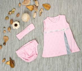 Βρεφικό σετ 3 τμχ. κορδέλα, φόρεμα και βρακάκι 5054209 ροζ
