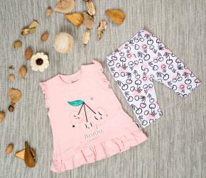 Βρεφικό σετ 2τμχ. αμάνικο μπλουζάκι και κολάν κερασάκια 50515537 ροζ
