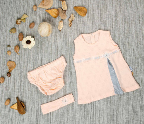 Βρεφικό σετ 3 τμχ. κορδέλα, φόρεμα και βρακάκι 5054209 ροδακινί
