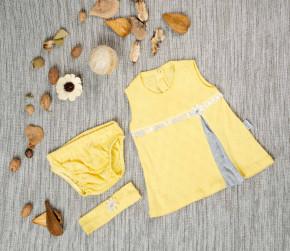 Βρεφικό σετ 3 τμχ. κορδέλα, φόρεμα και βρακάκι 5054209 κίτρινο