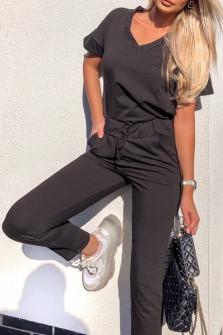 Γυναικείο σετ κοντομάνικο και παντελόνι 3683 μαύρο