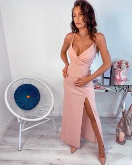 Γυναικείο μακρύ φόρεμα με σκίσιμο 5083 ροζ