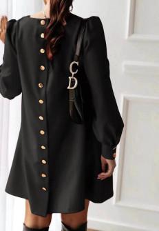Γυναικείο φόρεμα με κουμπιά στην πλάτη 3977 μαύρο
