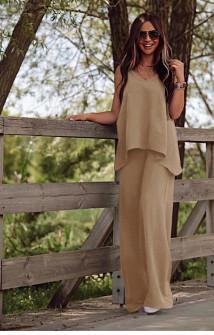 Γυναικείο χαλαρό σετ τοπάκι και παντελόνι 5154 μπεζ