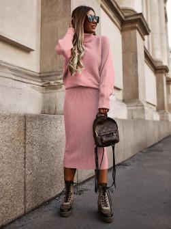 Σετ μπλούζα και φούστα 2570 ροζ