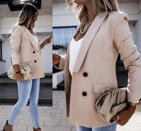 Γυναικείο μακρύ σακάκι με φόδρα 2473 μπεζ
