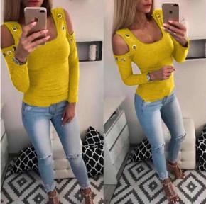 Γυναικεία έξωμη μπλούζα με τρούκς 2040 κίτρινο