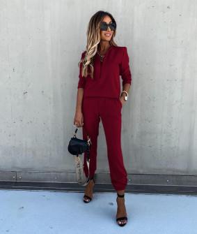 Γυναικείο σετ μπλούζα και παντελόνι 5301 μπορντό