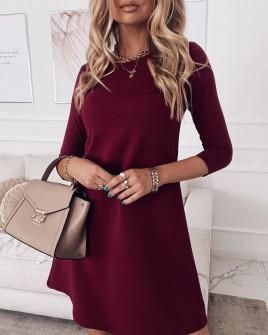 Γυναικείο ριχτό φόρεμα 3796 μπορντό