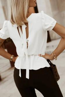 Γυναικεία μπλούζα με ανοιχτή πλάτη 5871 άσπρη