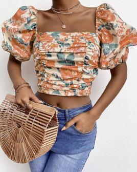 Γυναικεία μπλούζα με φουσκωτά μανίκια 3360 πορτοκαλί