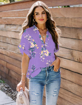 Γυναικεία μπλούζα φλοράλ 2409 λιλά