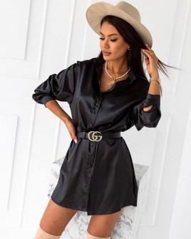 Γυναικείο σατέν πουκάμισο 6025 μαύρο