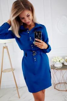 Γυναικείο φόρεμα με κουμπιά και ζώνη 3893 μπλε