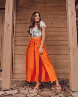 Γυναικεία μακριά φούστα με σκίσιμο 14890 πορτοκαλί