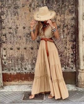 Γυναικείο μακρύ εντυπωσιακό φόρεμα 21798 μπεζ